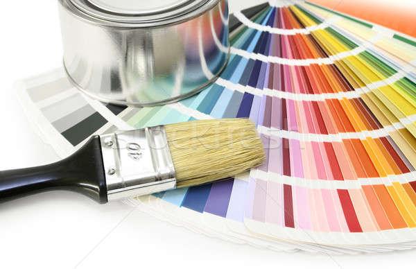 Festék szín diagram minta ecset konzerv Stock fotó © Anterovium