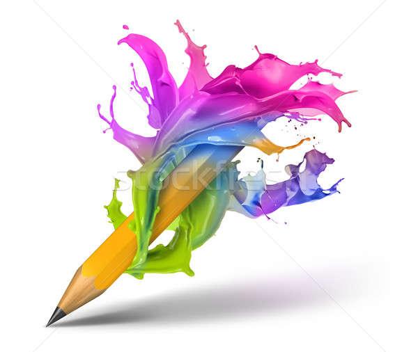 Kreatív ír színes festék csobbanás körül Stock fotó © Anterovium