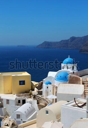 Greek church Oia Santorini caldera Stock photo © Anterovium