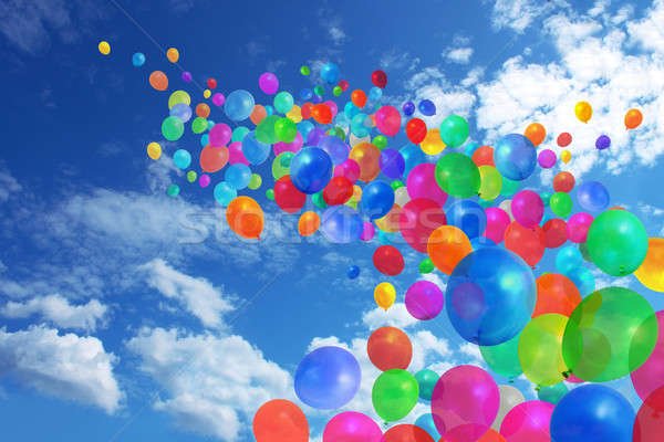 Colorful balloons on blue sky Stock photo © Anterovium