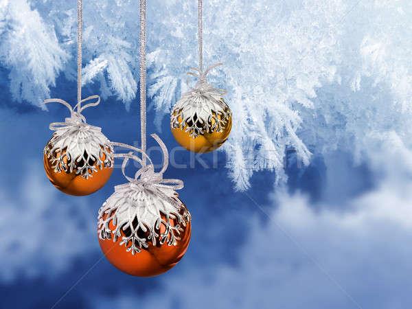 Karácsony golyók fagyos színes dekoráció kék Stock fotó © Anterovium