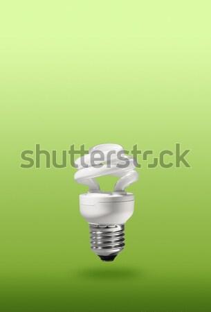 Energii oszczędność zwarty fluorescencyjny lampy zielone Zdjęcia stock © Anterovium