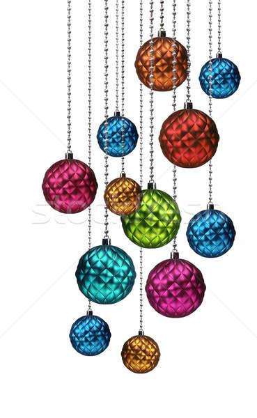 Színes karácsony golyók csoport akasztás üveg Stock fotó © Anterovium