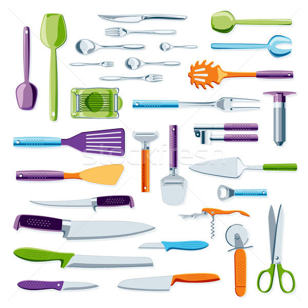 Modern colorful kitchen equipment Stock photo © Anterovium
