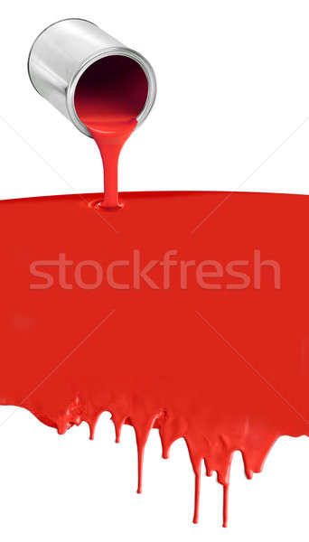 Paint can pouring dripping red on white Stock photo © Anterovium