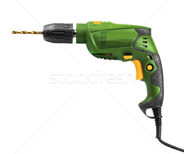 Green electric drill isolated Stock photo © Anterovium