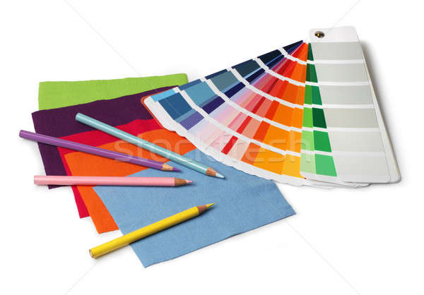 Color and fabric swatch samples and pencils Stock photo © Anterovium