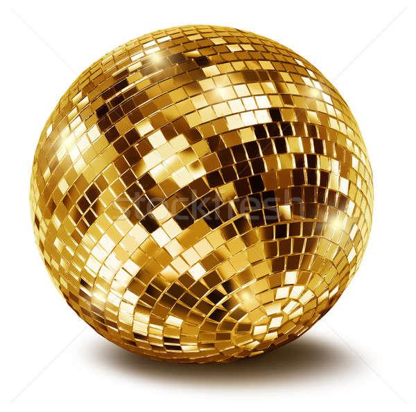 Stockfoto: Gouden · disco · spiegel · bal · geïsoleerd · witte
