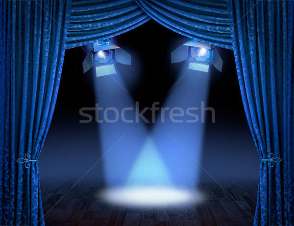 Blue spotlight beams premiere Stock photo © Anterovium