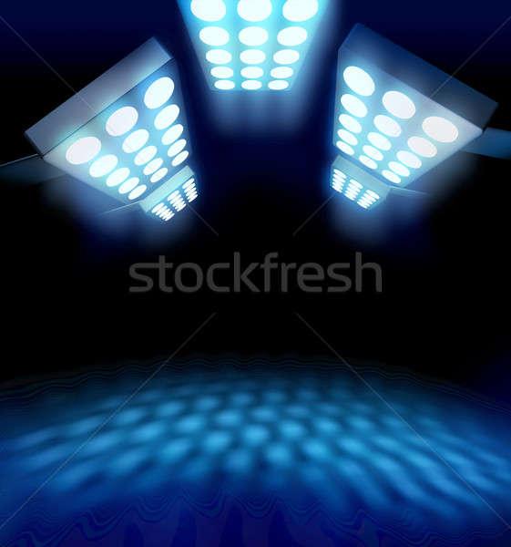 Stadion stijl première lichten Blauw oppervlak Stockfoto © Anterovium
