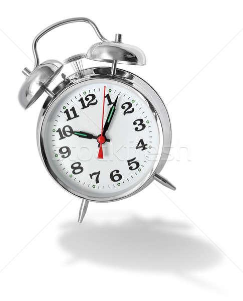 çalar saat Metal Retro beyaz gölge başlatmak Stok fotoğraf © Anterovium