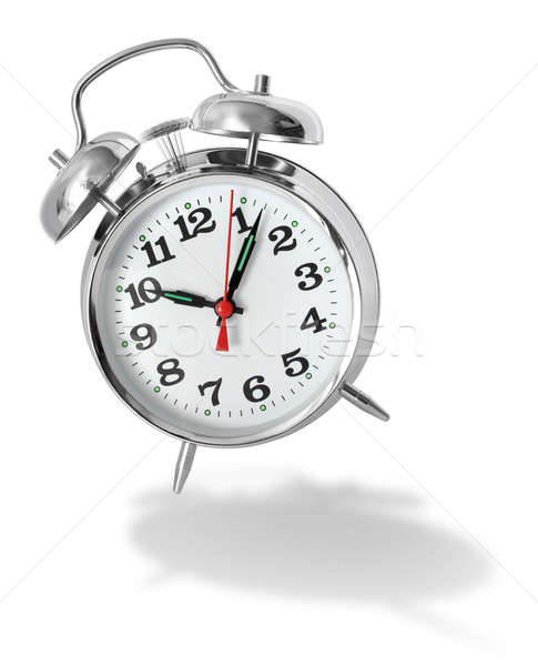 Despertador metal retro branco sombra começar Foto stock © Anterovium