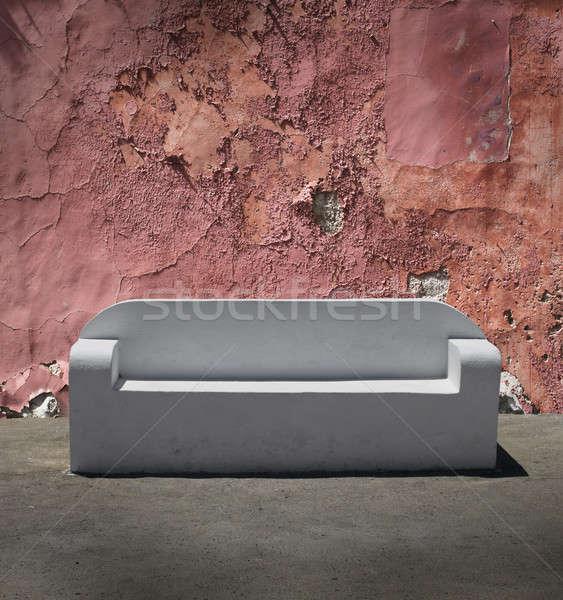 Zdjęcia stock: Kamień · sofa · pęknięty · gipsu · ściany · biały