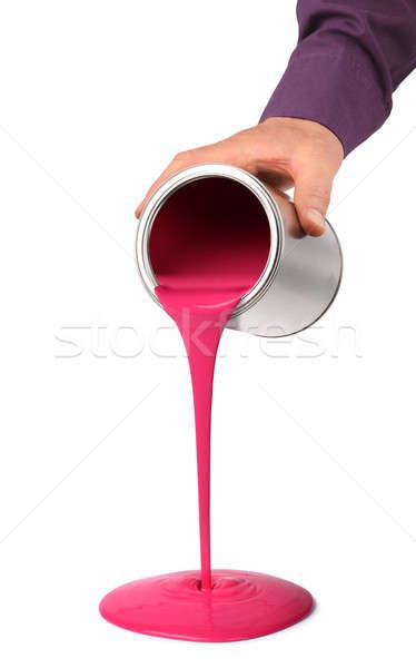 Main peinture étain peuvent rouge Photo stock © Anterovium