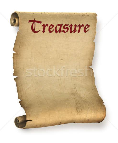 Schatkaart oude perkament document rollen boek Stockfoto © Anterovium