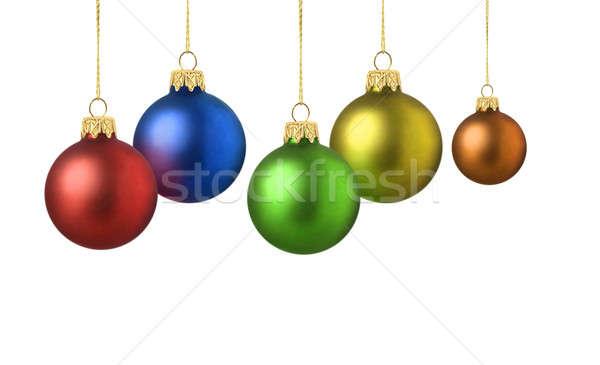 Különböző színes matt karácsony dekoráció golyók Stock fotó © Anterovium