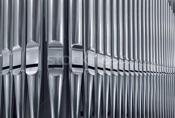 Organo tubi vicino primo piano moderno acciaio Foto d'archivio © Anterovium