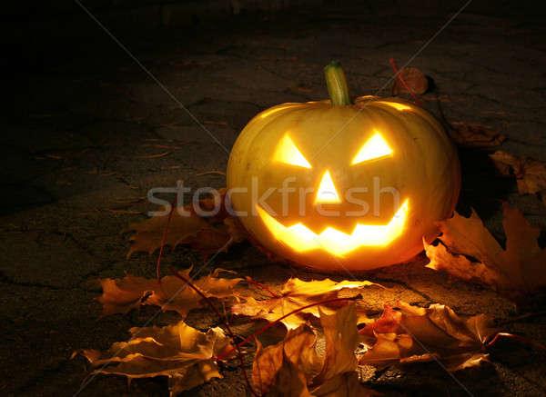 Halloween tök sötét kert izzó gyertya fény Stock fotó © Anterovium