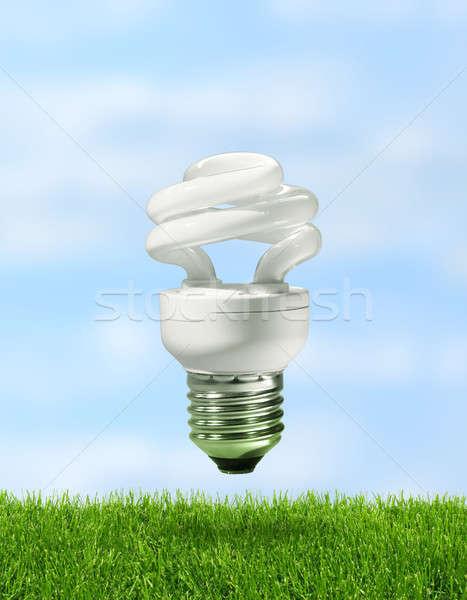 Enerji kompakt floresan lamba yeşil ot Stok fotoğraf © Anterovium
