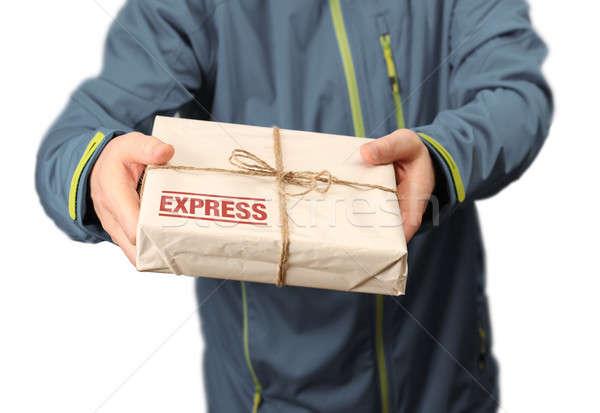 Posta expressz szállítás férfi futár szolgáltatás munkás Stock fotó © Anterovium