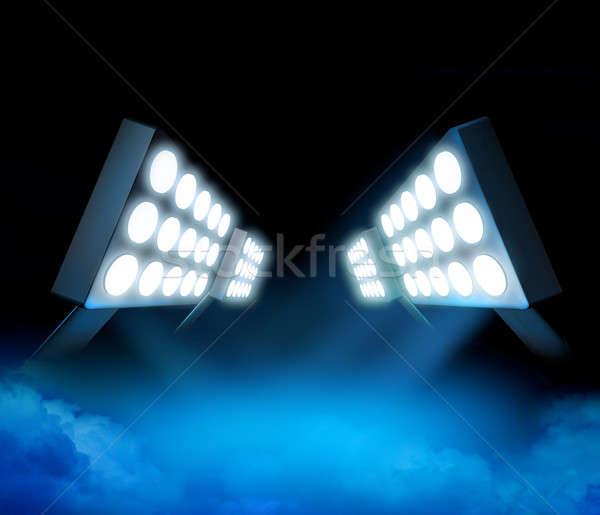 Stadion lichten première stijl Blauw oppervlak Stockfoto © Anterovium