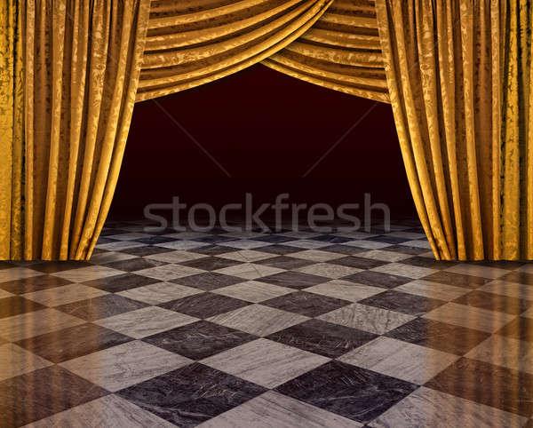 Złoty zasłony etapie otwarte marmuru Zdjęcia stock © Anterovium