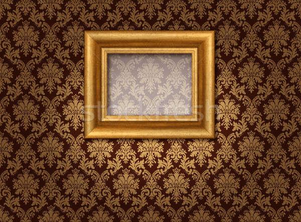 золото дамаст классический фоторамка Spotlight Сток-фото © Anterovium