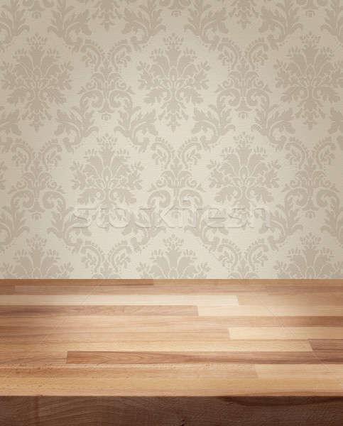 Produktu Fotografia szablon adamaszek tabeli drewniany stół Zdjęcia stock © Anterovium