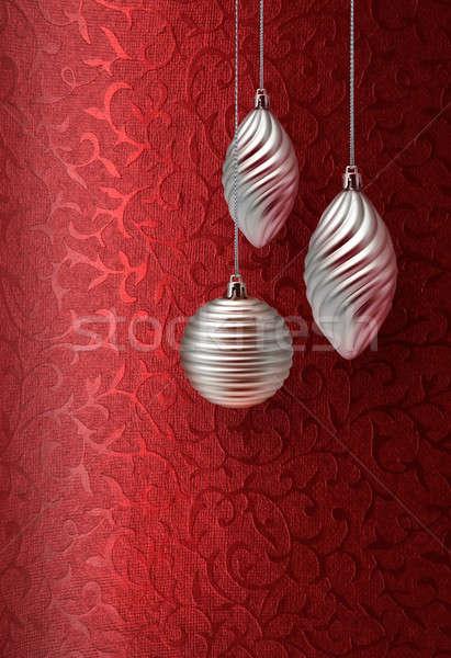 Red Christmas brocade silver decoration Stock photo © Anterovium