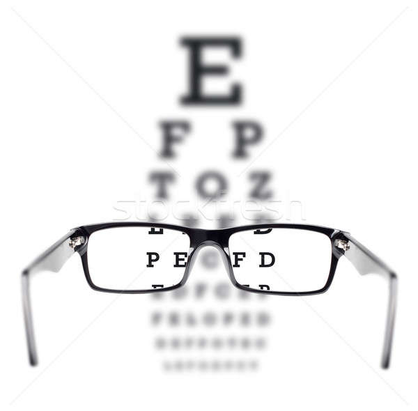 Sight test seen through eye glasses Stock photo © Anterovium