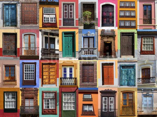 Renkli yaşayan kapılar pencereler İspanya Bina Stok fotoğraf © Anterovium