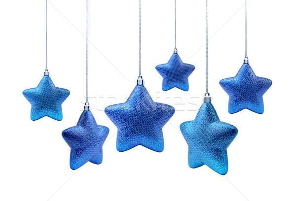 Blue roundish Christmas stars Stock photo © Anterovium