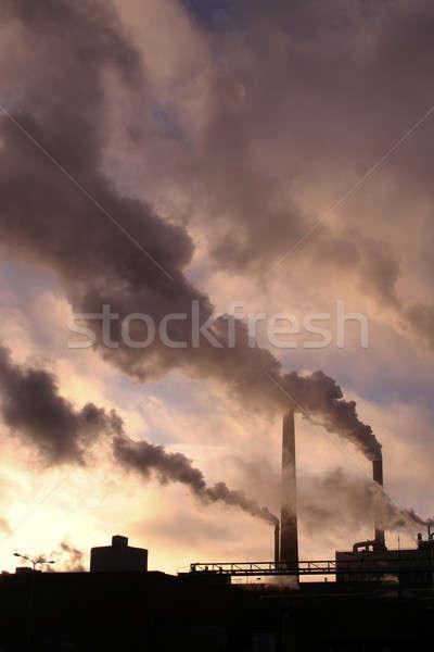 Factory pipes with smoke Stock photo © Anterovium