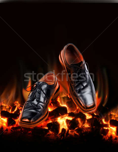 Business shoes dancing over fire Stock photo © Anterovium