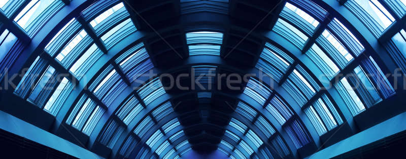Futurista pasillo corredor acero construcción simétrico Foto stock © Anterovium