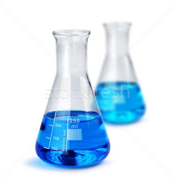 Kettő üveg folyadék minták teszt kék Stock fotó © Anterovium