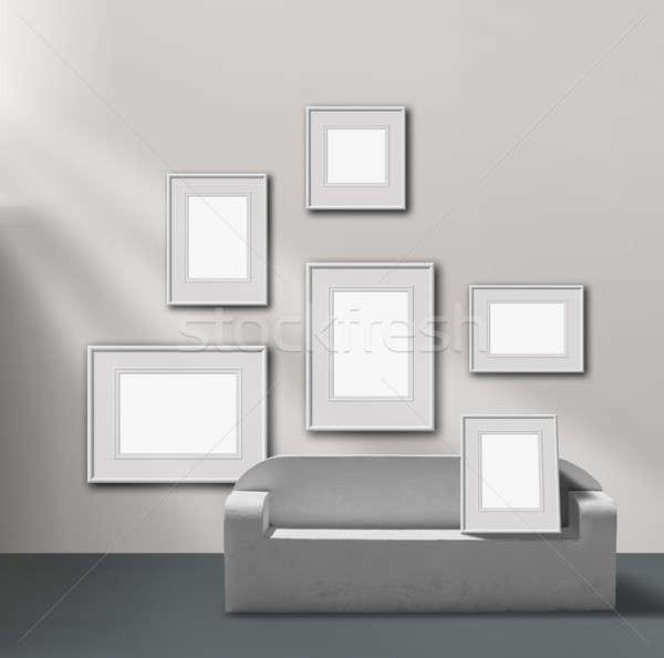 Zdjęcie galerii wystawa przestrzeni pusty ramki Zdjęcia stock © Anterovium