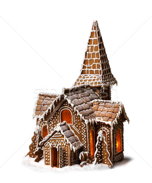 Stock photo: Gingerbread cookies Christmas house isolated