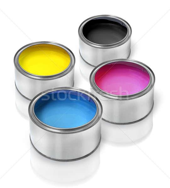 Cmyk paint tin cans Stock photo © Anterovium