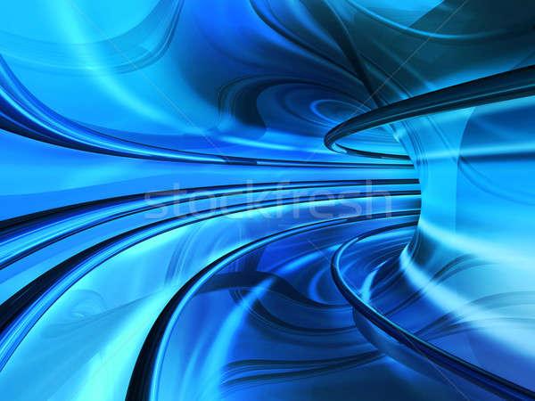 Bleu super vitesse tunnel effet Photo stock © Anterovium
