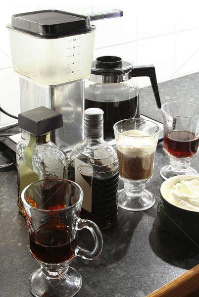 Mandula likőr kávé forró tejszínhab üveg Stock fotó © Anterovium