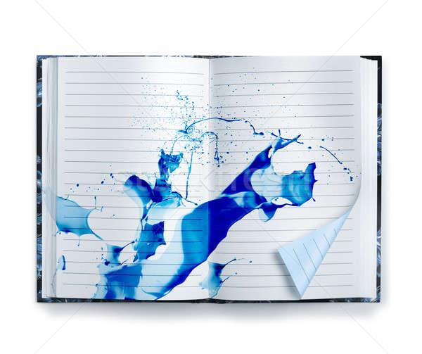 Kék emlékek notebook tinta csobbanás nyitva Stock fotó © Anterovium