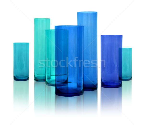 Nowoczesne niebieski szkła siedem rząd biały Zdjęcia stock © Anterovium