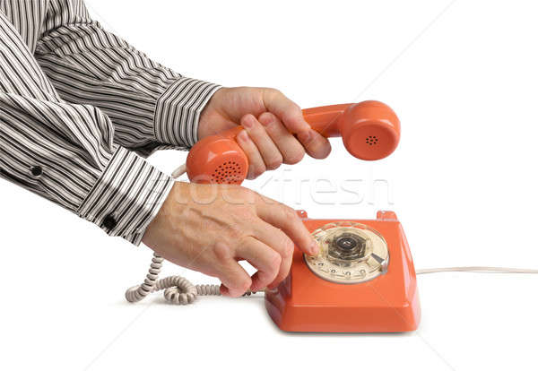Vintage telefone chamada masculino mãos Foto stock © Anterovium