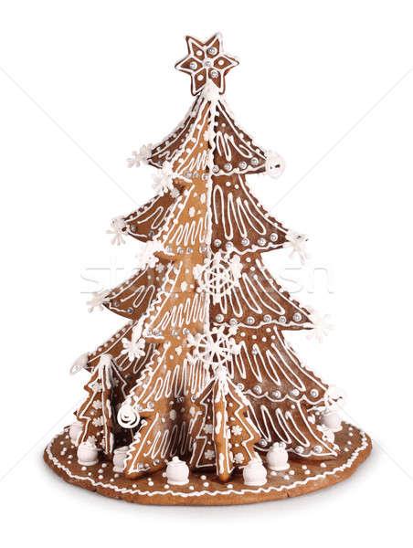 Mézeskalács karácsonyfa sült dekoráció cukor cukormáz Stock fotó © Anterovium
