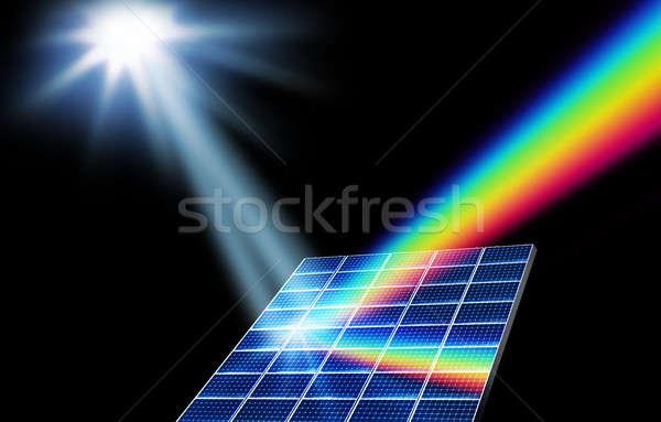 Zonne-energie hernieuwbare energie zonnepaneel verzamelaar zonlicht energie Stockfoto © Anterovium