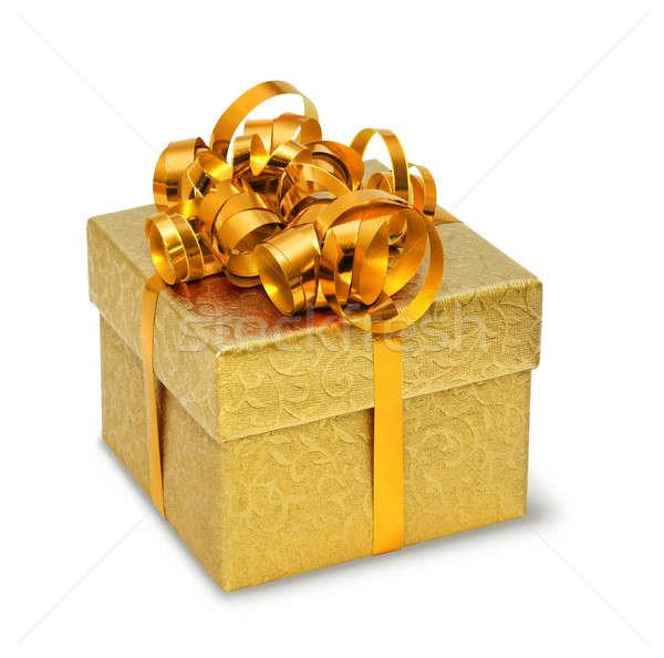 Golden present box  Stock photo © Anterovium