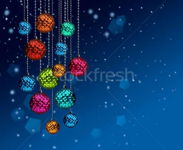 Színes karácsony golyók kék hóesés csoport Stock fotó © Anterovium