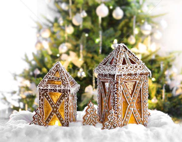 Karácsony mézeskalács lámpások megvilágított karácsonyfa háttér Stock fotó © Anterovium