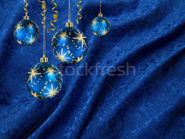 Christmas balls blue curtain Stock photo © Anterovium